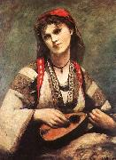 Jean Baptiste Camille  Corot Gypsy with a Mandolin oil painting reproduction