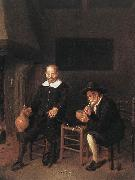 BREKELENKAM, Quiringh van Interior with Two Men by the Fireside f oil painting