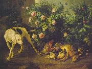Francois Desportes Dog Guarding Game near a Rosebush China oil painting reproduction