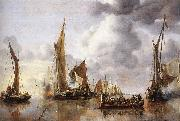 Jan van de Capelle The State Barge Saluted by the Home Fleet oil painting