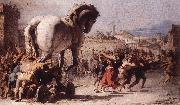 TIEPOLO, Giovanni Domenico The Procession of the Trojan Horse in Troy e oil painting