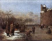 VELDE, Adriaen van de Amusement on the Ice r oil painting