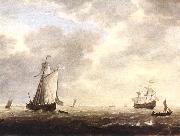 VLIEGER, Simon de A Dutch Man-of-war and Various Vessels in a Breeze r oil painting