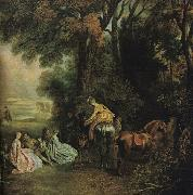 WATTEAU, Antoine A Halt During the Chase21 oil painting