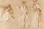 WATTEAU, Antoine Three Studies of a Lady with a Hat oil painting