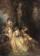 WATTEAU, Antoine Harlequin and Columbine oil painting