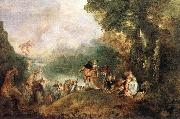WATTEAU, Antoine The Embarkation for Cythera oil painting