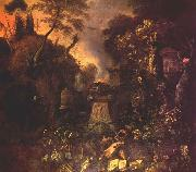 WITHOOS, Mathias Landscape with a Graveyard by Night oil painting