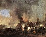 WOUWERMAN, Philips Cavalry Battle in front of a Burning Mill tfur oil painting