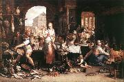 WTEWAEL, Joachim Kitchen Scene wer oil painting