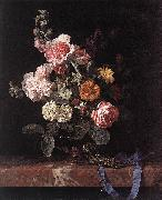 Willem van Vase of Flowers with Watch oil painting