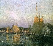 Wilson Irvine Evening in the Harbor oil painting