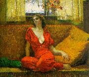 Wilson Irvine Lady in Red oil painting