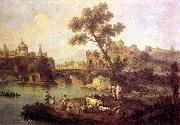 ZAIS, Giuseppe Landscape with River and Bridge oil painting