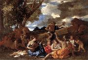 POUSSIN, Nicolas Bacchanal: the Andrians af oil painting