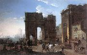 SALUCCI, Alessandro Harbour View with Triumphal Arch g oil painting