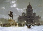 Vasily Surikov Monument to Peter the Great on Senate Squar in St.Petersburg oil painting