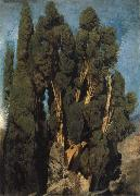 Oswald achenbach Cypresses in the Park at the Villa d-Este oil painting