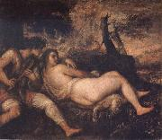 Titian Nymph and Shepherd oil painting reproduction