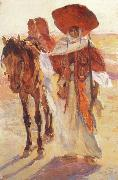 Victor Prouve Arab Horseman oil painting