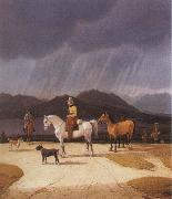 Wilhelm von Kobell Riders at the Tegernsee oil painting