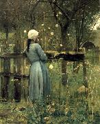 William Stott of Oldham A Girl in a  Meadow oil painting