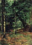 William Stott of Oldham Study of sun shining through trees-Concarneau oil painting