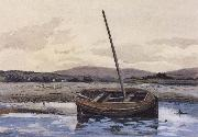 William Stott of Oldham Boat at Low Tide oil painting