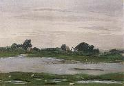 William Stott of Oldham River in Flood oil painting