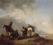 Philips Wouwerman A View on a Seashore with Fishwives Offering Fish to a Horseman oil painting