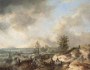 Philips Wouwerman A Dune Landscape with a River and Many Figures oil painting