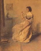 Thomas Wilmer Dewing The Necklace oil painting
