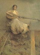 Thomas Wilmer Dewing Girl with Lute oil painting