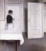 Vilhelm Hammershoi Interior with Woman Reading a Letter,Strandgade 30,1899 oil painting