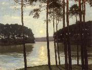 Walter Leistikow Evening mood at the battle lake oil painting