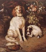 William Strutt Dogs with Flowers and game oil painting