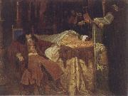 Wjatscheslaw Grigorjewitsch Schwarz Ivan the Terrible Meditating at the Deathbed of his son Ivan oil painting
