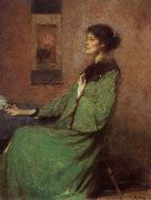 Thomas Wilmer Dewing Portrait of lady holding one rose oil painting
