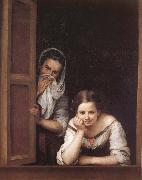 Bartolome Esteban Murillo Two Women in a fonster oil painting reproduction