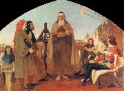 Ford Madox Brown Wycliffe Reading his translation of the Bible to John of Gaunt oil painting reproduction