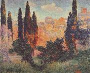 Henri Edmond Cross Cypresses at Cagnes oil painting reproduction