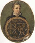 Sofonisba Anguissola Self-Portrait Holding a Medallion with the Letters of her Father s Name, oil painting