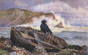 William henry millair A Fisherman with his Dinghy at Lulworth Cove (mk46) oil painting