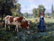 unknow artist Cow and Woman oil