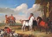 unknow artist Horses and Hunter oil