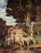 unknow artist Sheep and Sheepherder oil