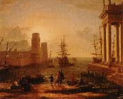 Claude Lorrain utsikt over hamn med bimma oil painting reproduction