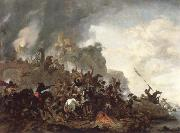 Philips Wouwerman cavalry making a sortie from a fort on a hill oil painting