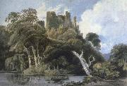 Thomas Girtin berry pomeroy castle,devon oil painting