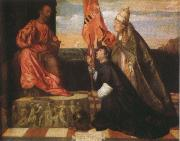 Titian By Pope Alexander six th as the Saint Mala enterprise's hero were introduced that kneels in front of Saint Peter's Ge the cloths wears Salol oil painting reproduction